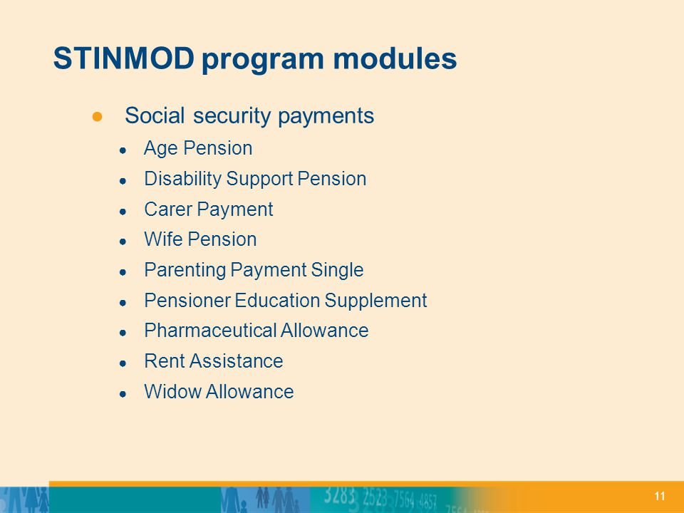 11 STINMOD program modules ●Social security payments ● Age Pension ● Disability Support Pension ● Carer Payment ● Wife Pension ● Parenting Payment Single ● Pensioner Education Supplement ● Pharmaceutical Allowance ● Rent Assistance ● Widow Allowance