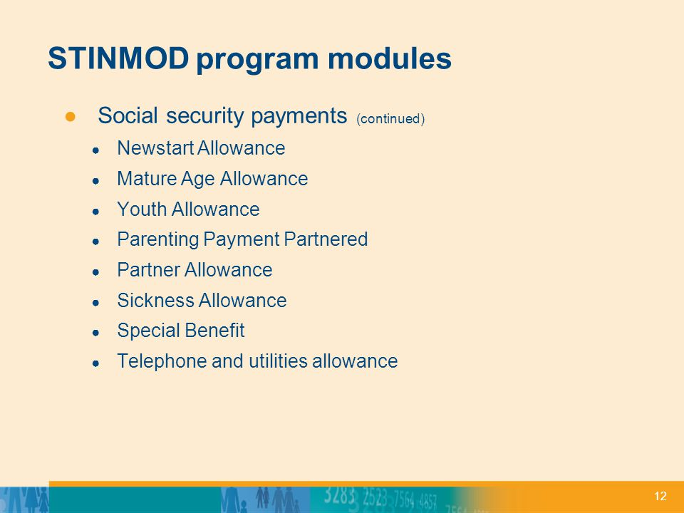 12 STINMOD program modules ●Social security payments (continued) ● Newstart Allowance ● Mature Age Allowance ● Youth Allowance ● Parenting Payment Partnered ● Partner Allowance ● Sickness Allowance ● Special Benefit ● Telephone and utilities allowance
