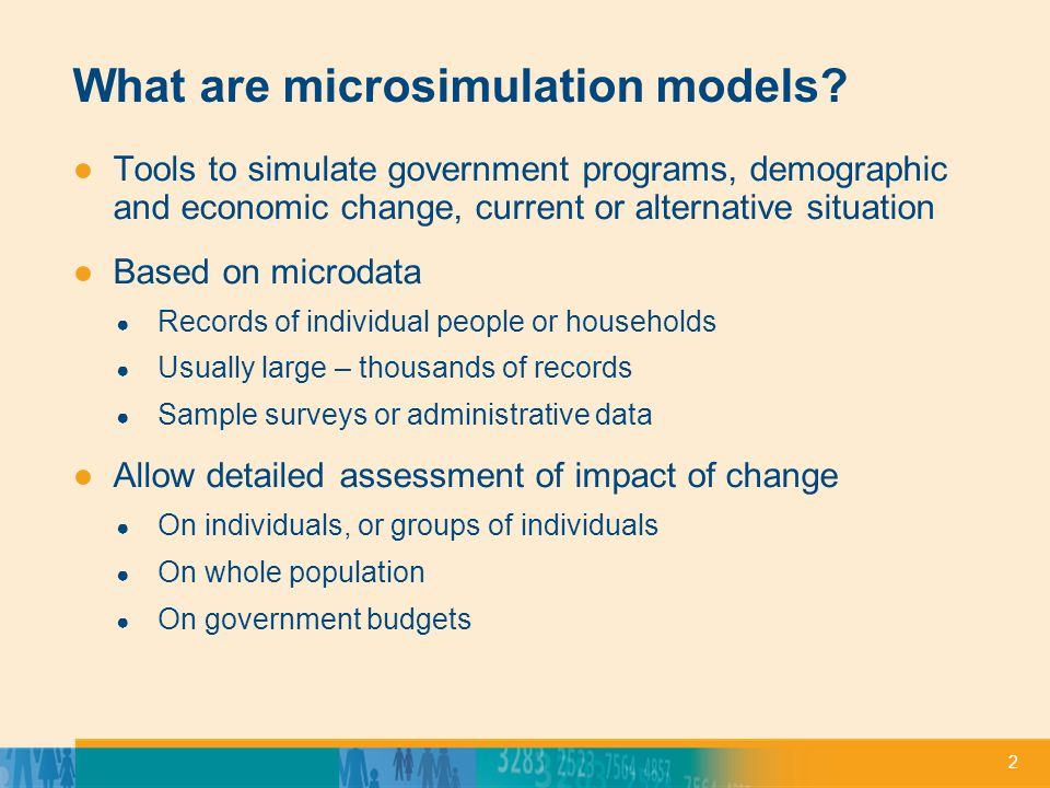 2 What are microsimulation models.