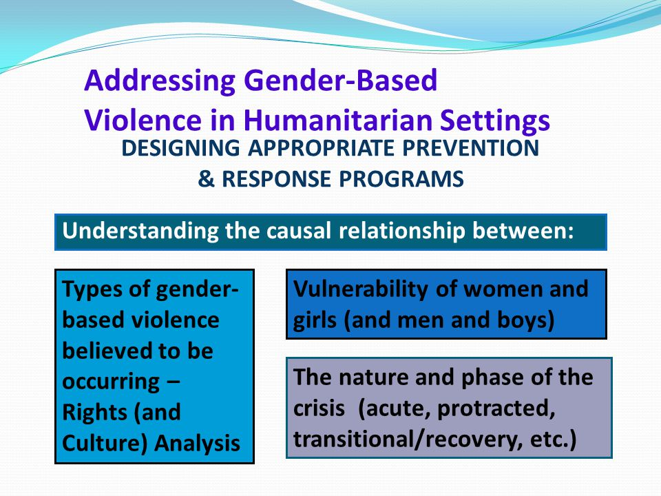 Understanding the causal relationship between: Vulnerability of women and girls (and men and boys) Types of gender- based violence believed to be occu