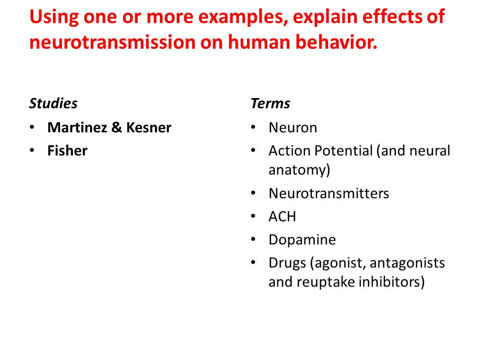 Using one or more examples, explain effects of neurotransmission on human behavior.