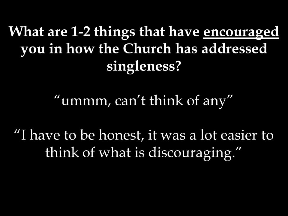 What are 1-2 things that have encouraged you in how the Church has addressed singleness.