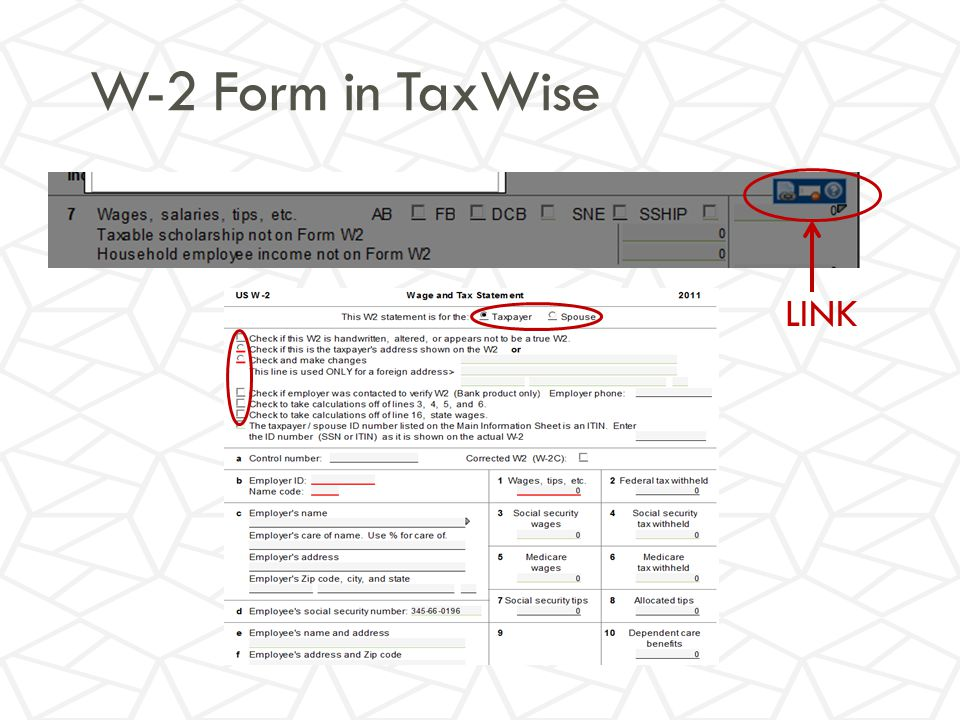 W-2 Form in TaxWise LINK