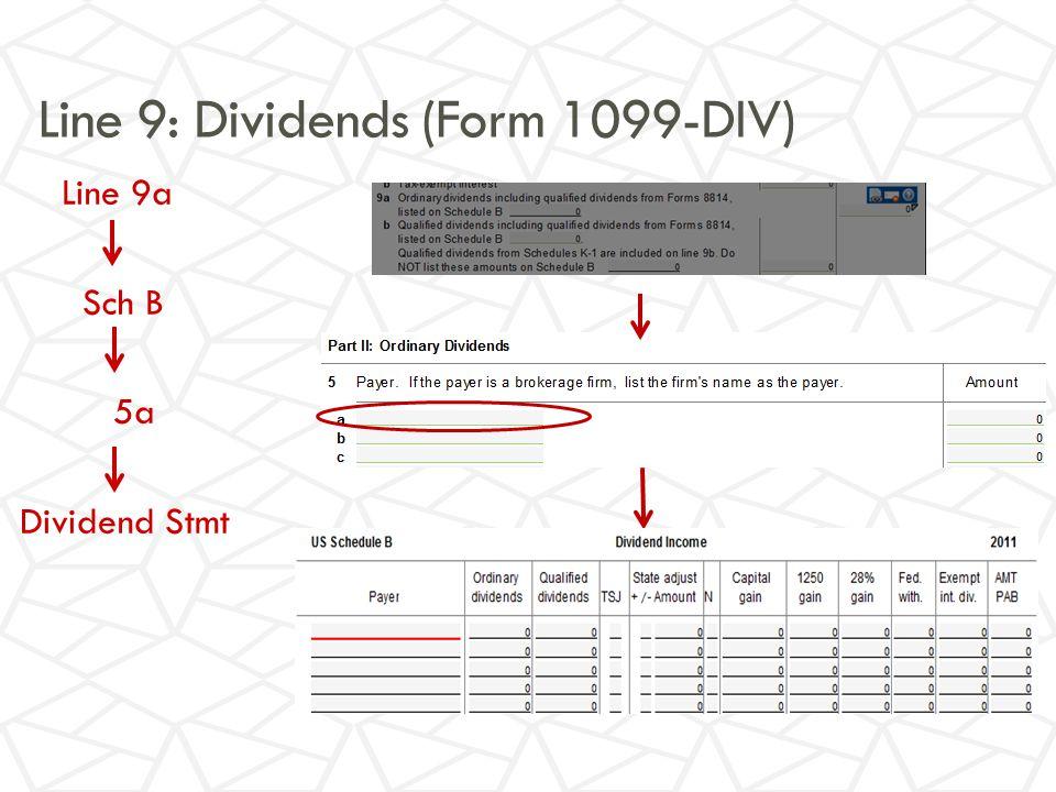 Line 9: Dividends (Form 1099-DIV) Line 9a Sch B 5a Dividend Stmt
