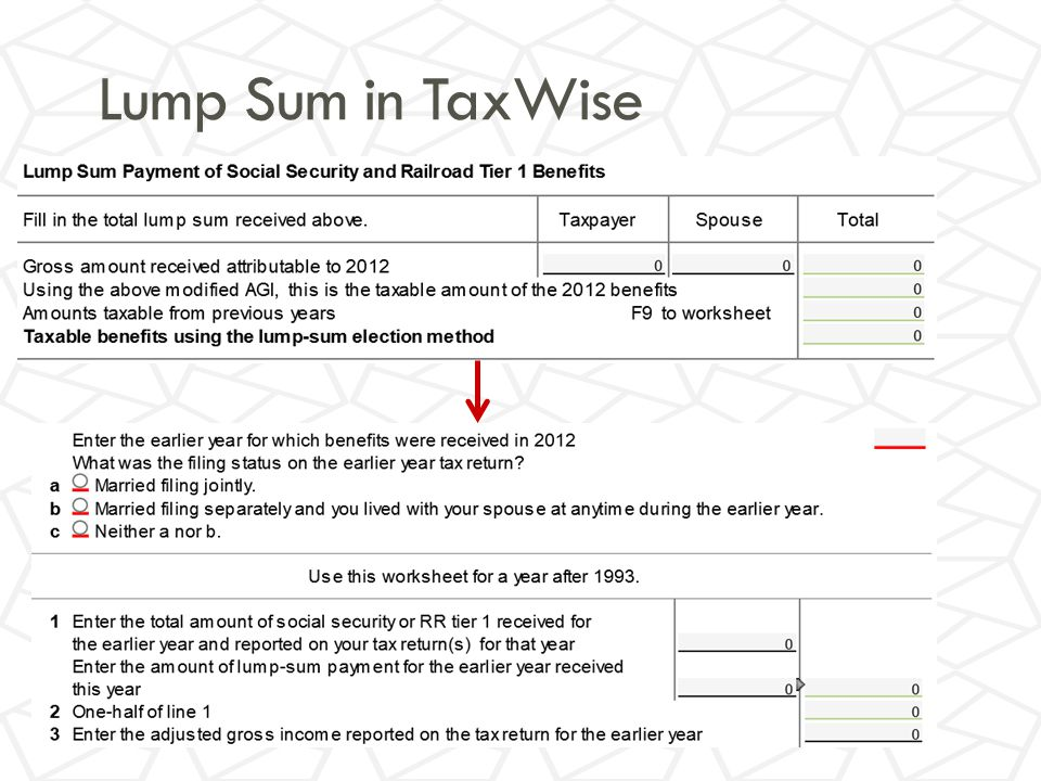 Lump Sum in TaxWise
