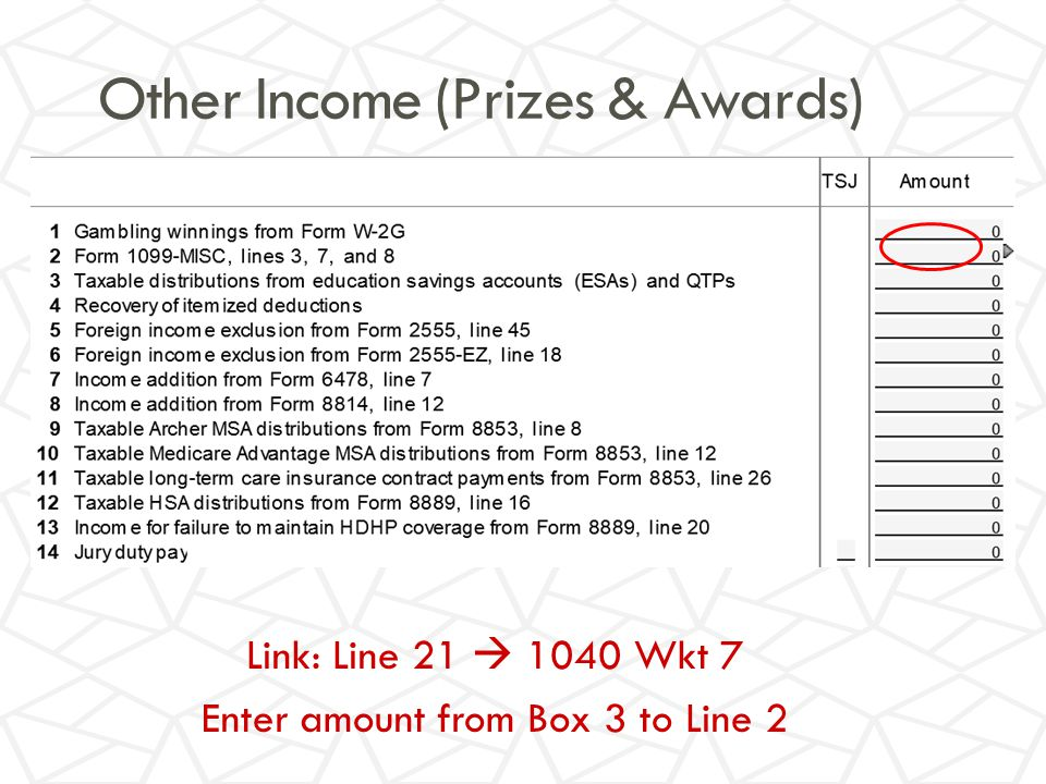 Other Income (Prizes & Awards) Link: Line 21  1040 Wkt 7 Enter amount from Box 3 to Line 2