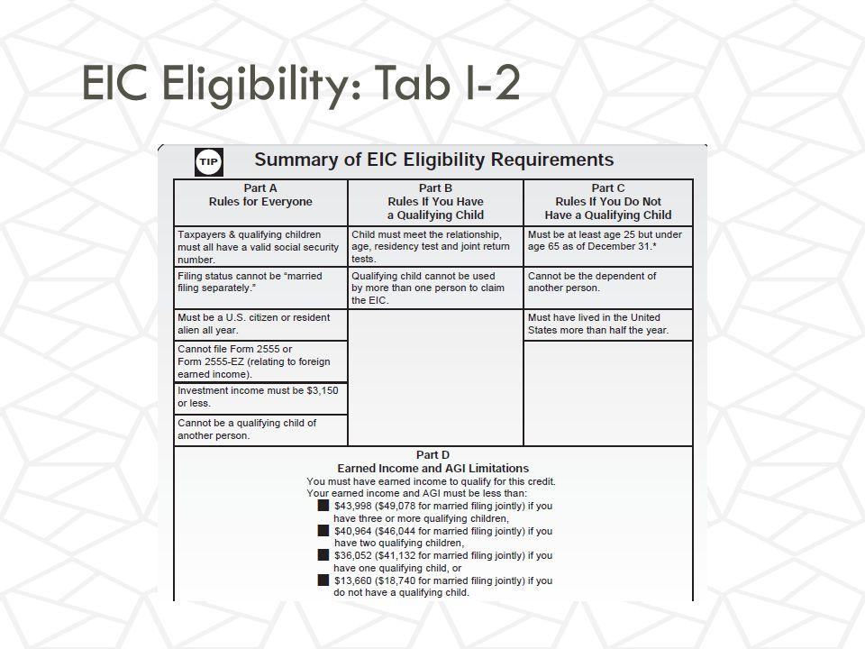 EIC Eligibility: Tab I-2