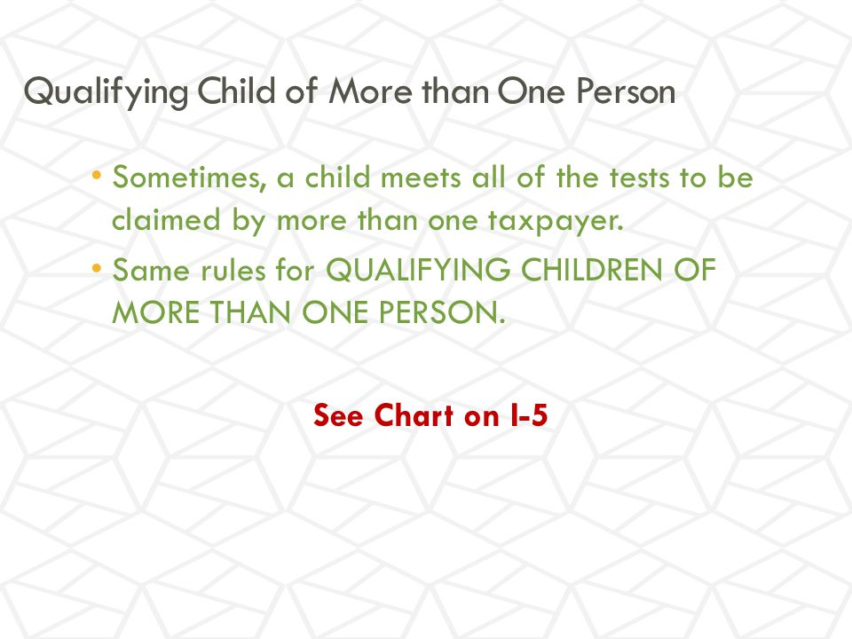 Qualifying Child of More than One Person Sometimes, a child meets all of the tests to be claimed by more than one taxpayer.