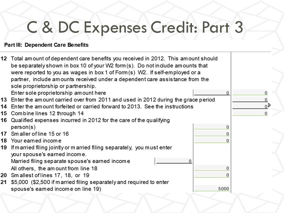 C & DC Expenses Credit: Part 3