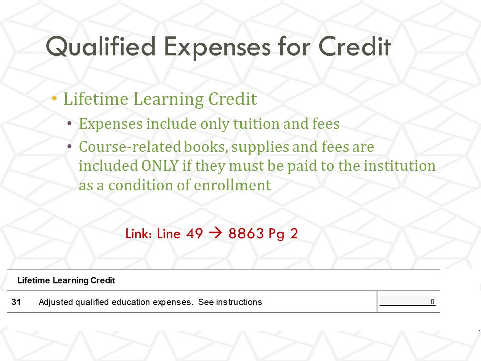 Qualified Expenses for Credit Lifetime Learning Credit Expenses include only tuition and fees Course-related books, supplies and fees are included ONLY if they must be paid to the institution as a condition of enrollment Link: Line 49  8863 Pg 2