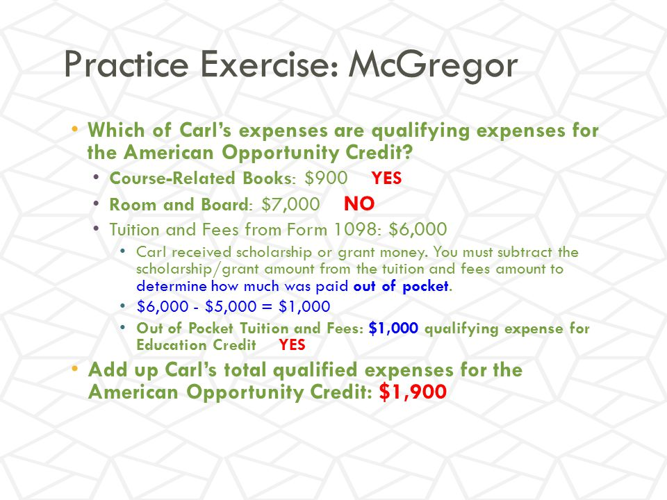 Practice Exercise: McGregor Which of Carl's expenses are qualifying expenses for the American Opportunity Credit.