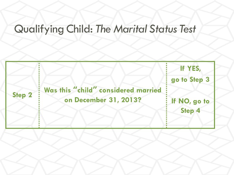 Qualifying Child: The Marital Status Test Step 2 Was this child considered married on December 31, 2013.