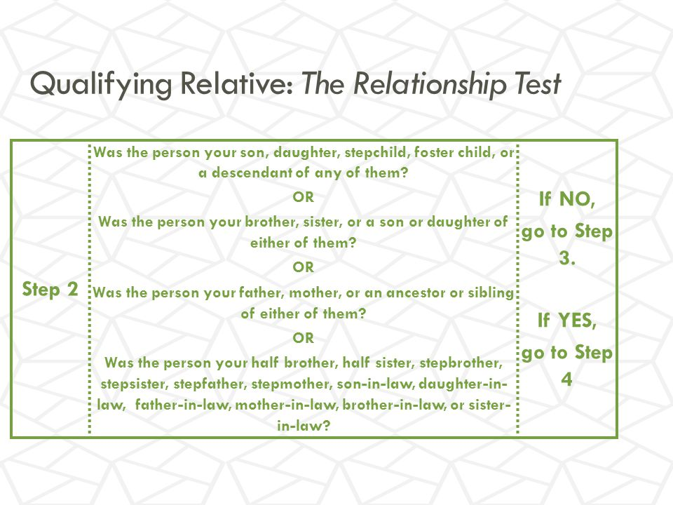 Qualifying Relative: The Relationship Test Step 2 Was the person your son, daughter, stepchild, foster child, or a descendant of any of them.