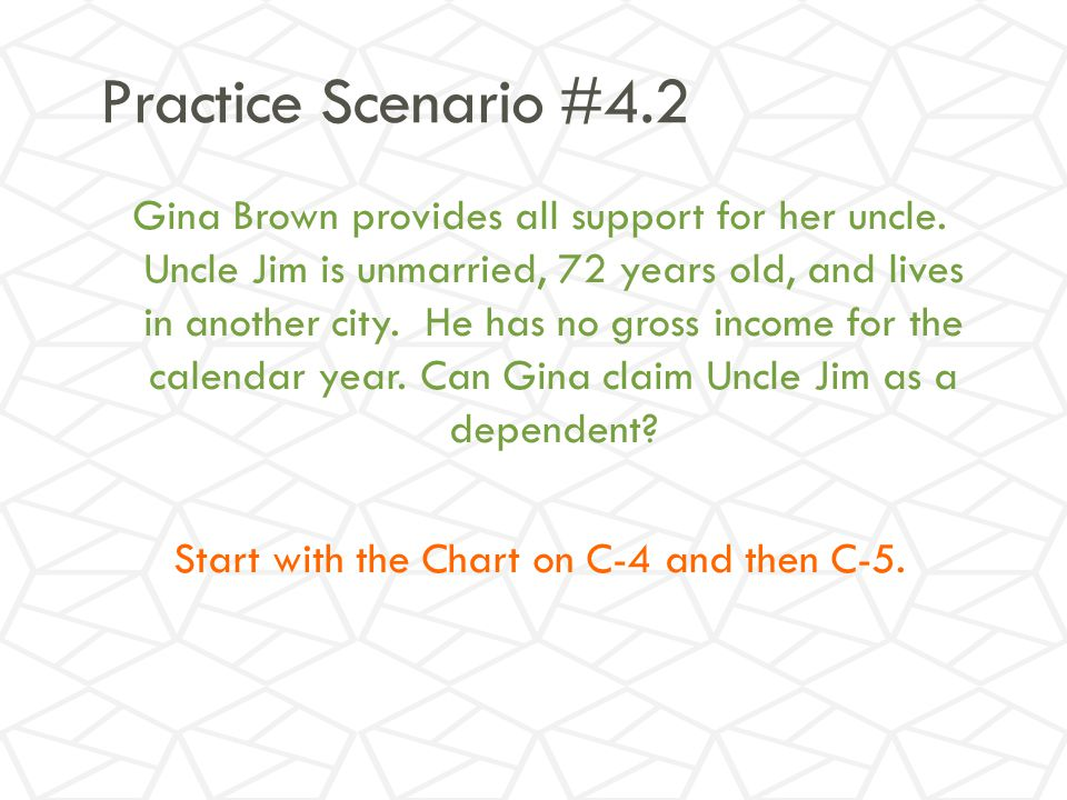 Practice Scenario #4.2 Gina Brown provides all support for her uncle.