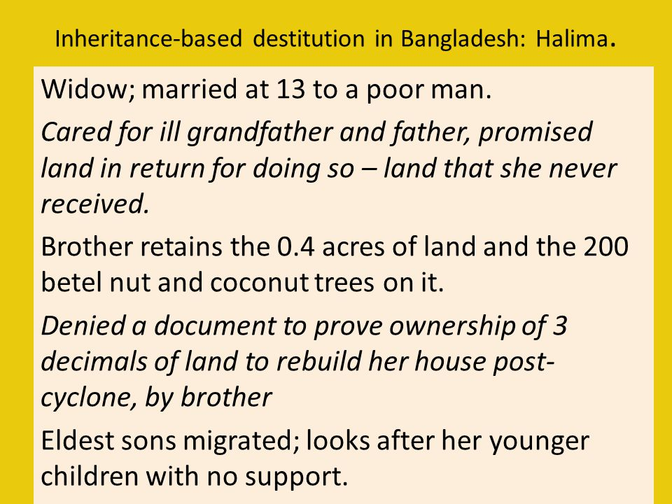 Inheritance-based destitution in Bangladesh: Halima.