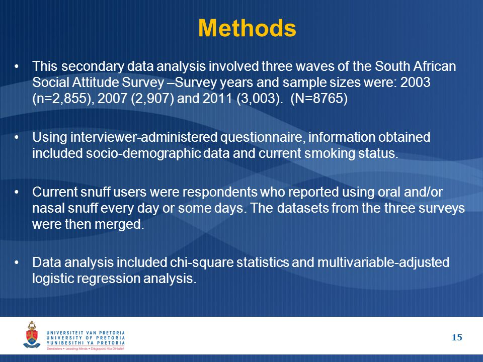 Methods This secondary data analysis involved three waves of the South African Social Attitude Survey –Survey years and sample sizes were: 2003 (n=2,855), 2007 (2,907) and 2011 (3,003).