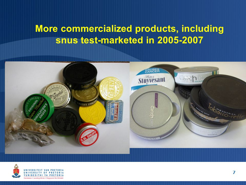 More commercialized products, including snus test-marketed in 2005-2007 7