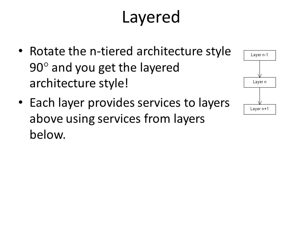Layered Rotate the n-tiered architecture style 90  and you get the layered architecture style.