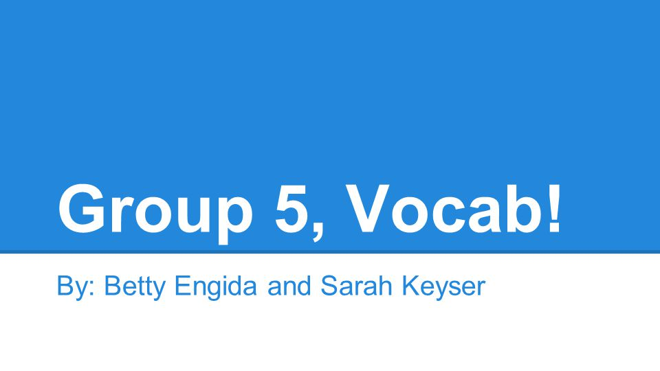 Group 5, Vocab! By: Betty Engida and Sarah Keyser