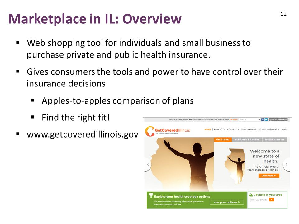 Marketplace in IL: Overview 12  Web shopping tool for individuals and small business to purchase private and public health insurance.