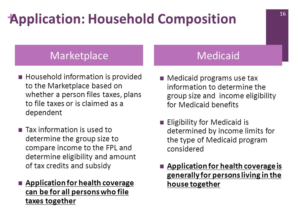 + Application: Household Composition Household information is provided to the Marketplace based on whether a person files taxes, plans to file taxes or is claimed as a dependent Tax information is used to determine the group size to compare income to the FPL and determine eligibility and amount of tax credits and subsidy Application for health coverage can be for all persons who file taxes together Medicaid programs use tax information to determine the group size and income eligibility for Medicaid benefits Eligibility for Medicaid is determined by income limits for the type of Medicaid program considered Application for health coverage is generally for persons living in the house together MarketplaceMedicaid 16