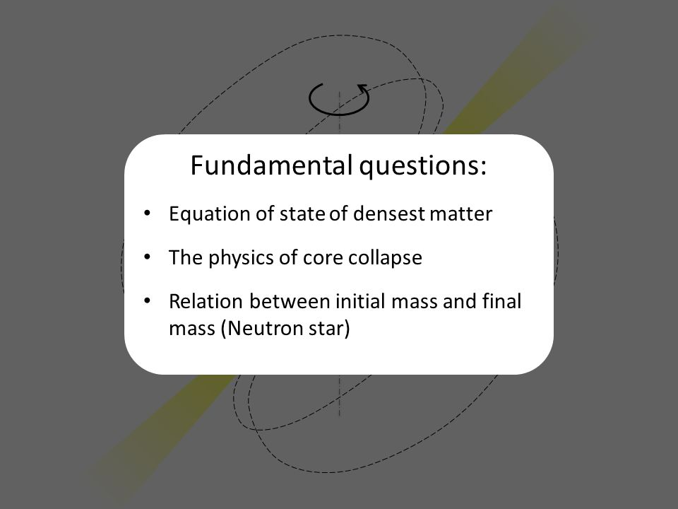 Fundamental questions: Equation of state of densest matter The physics of core collapse Relation between initial mass and final mass (Neutron star)