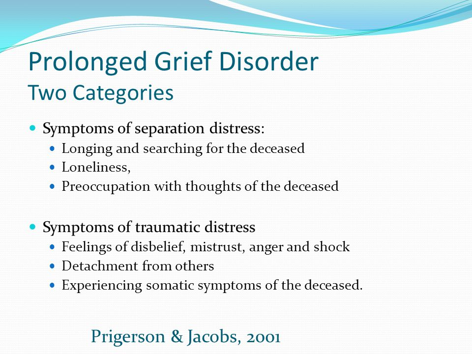 Prolonged Grief Disorder Two Categories Symptoms of separation distress: Longing and searching for the deceased Loneliness, Preoccupation with thought