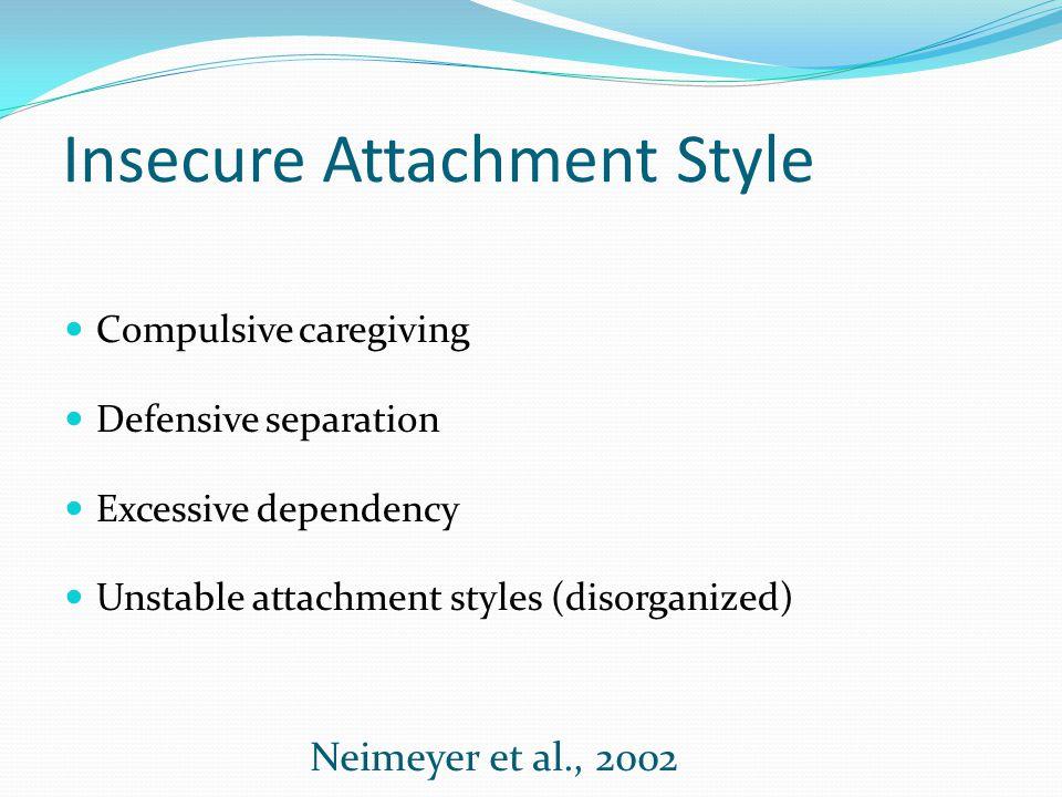 Insecure Attachment Style Compulsive caregiving Defensive separation Excessive dependency Unstable attachment styles (disorganized) Neimeyer et al., 2