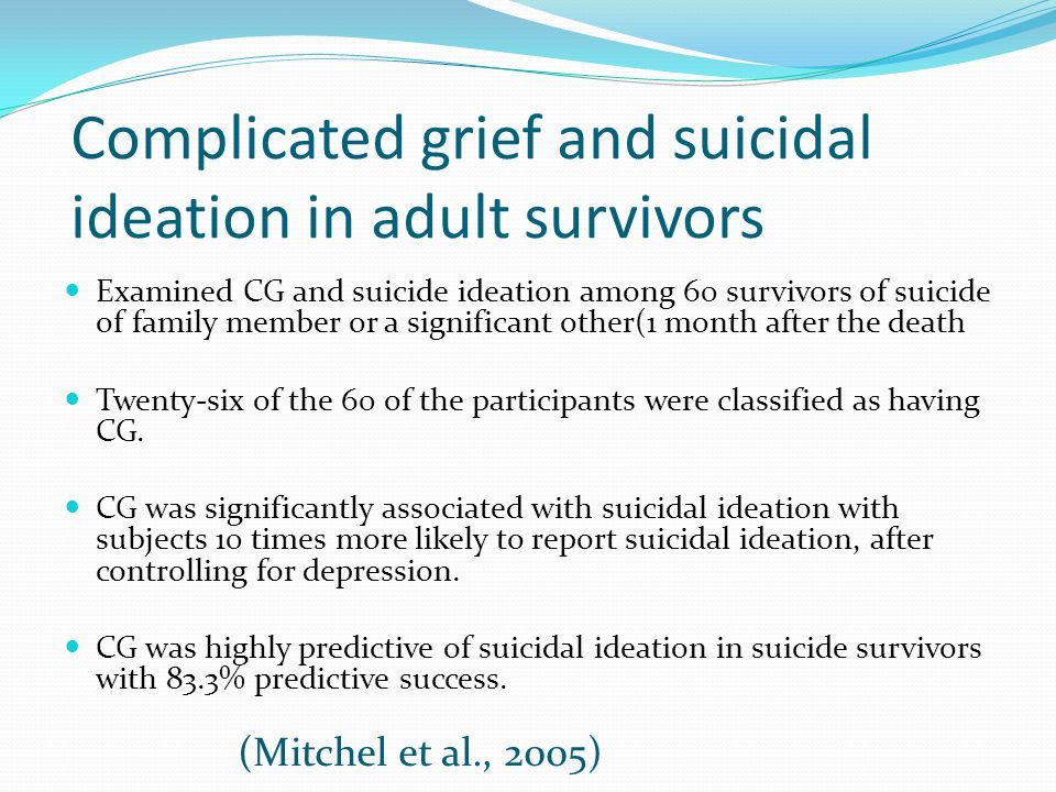 Complicated grief and suicidal ideation in adult survivors Examined CG and suicide ideation among 60 survivors of suicide of family member or a signif