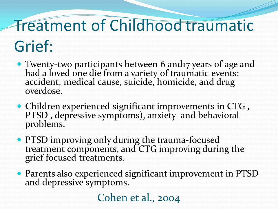 Treatment of Childhood traumatic Grief: Twenty-two participants between 6 and17 years of age and had a loved one die from a variety of traumatic event