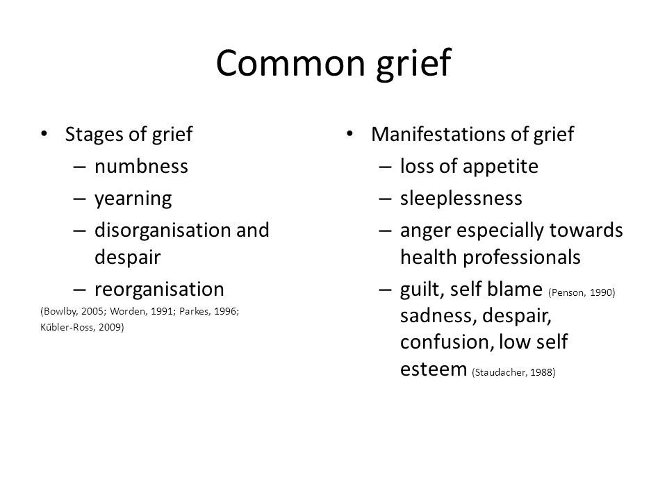 Common grief Stages of grief – numbness – yearning – disorganisation and despair – reorganisation (Bowlby, 2005; Worden, 1991; Parkes, 1996; Kűbler-Ross, 2009) Manifestations of grief – loss of appetite – sleeplessness – anger especially towards health professionals – guilt, self blame (Penson, 1990) sadness, despair, confusion, low self esteem (Staudacher, 1988)
