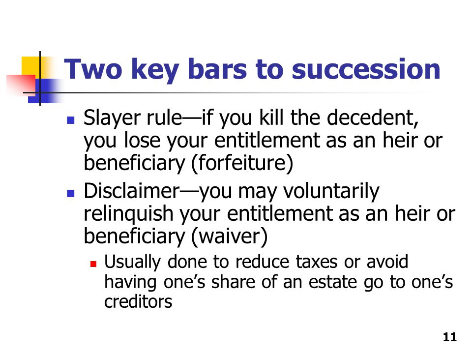 Two key bars to succession Slayer rule—if you kill the decedent, you lose your entitlement as an heir or beneficiary (forfeiture) Disclaimer—you may v