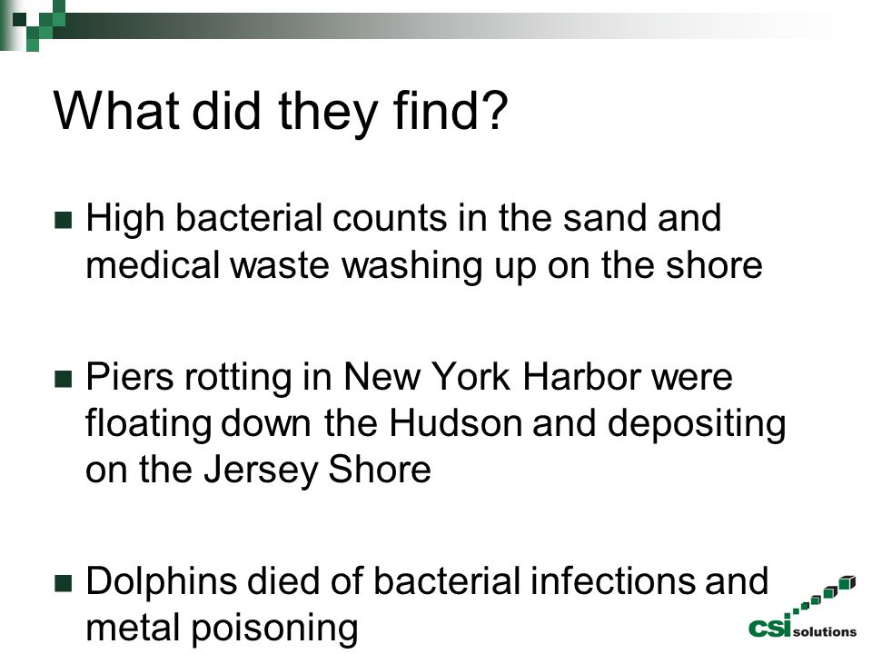 What did they find? High bacterial counts in the sand and medical waste washing up on the shore Piers rotting in New York Harbor were floating down th