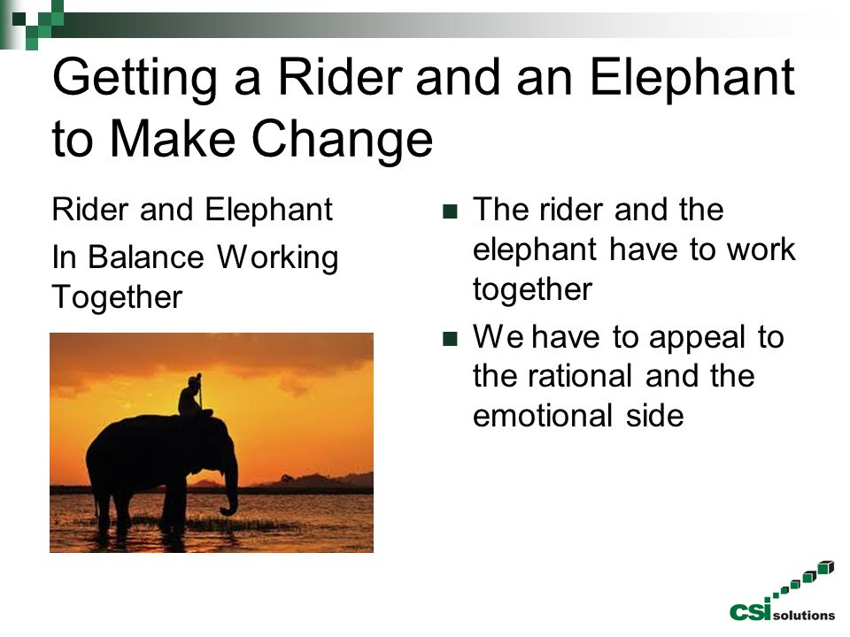 Getting a Rider and an Elephant to Make Change Rider and Elephant In Balance Working Together The rider and the elephant have to work together We have