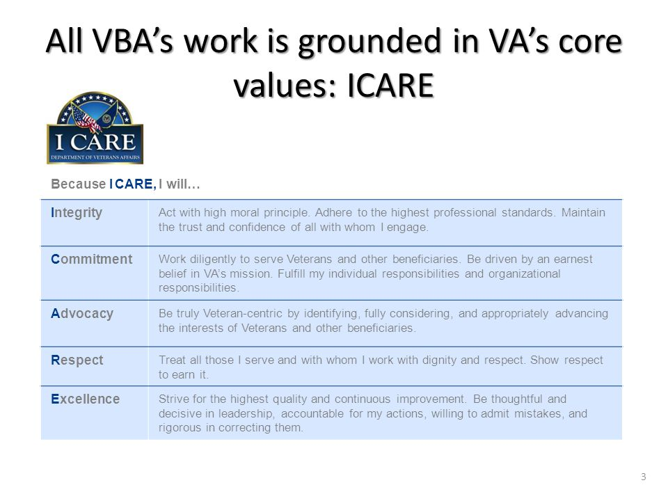 All VBA's work is grounded in VA's core values: ICARE Because I CARE, I will… Integrity Act with high moral principle.