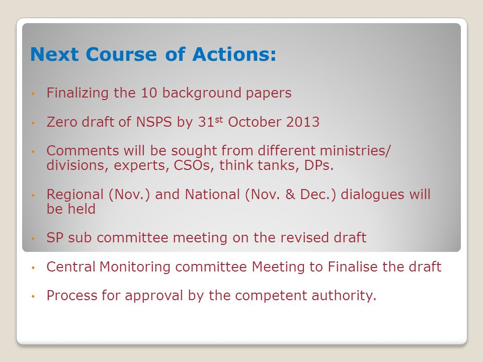 Next Course of Actions: Finalizing the 10 background papers Zero draft of NSPS by 31 st October 2013 Comments will be sought from different ministries/ divisions, experts, CSOs, think tanks, DPs.