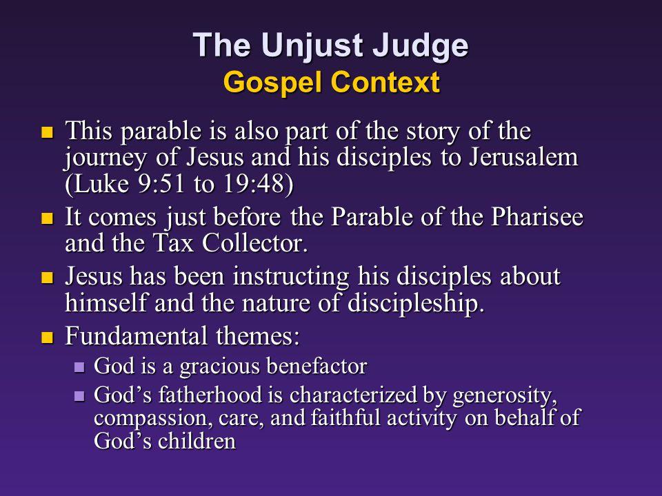 Parables Concerning God and Prayer: The Unjust Judge