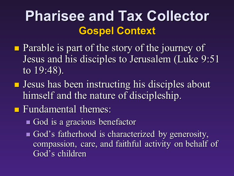 Parables Concerning God and Prayer: The Pharisee and the Tax Collector