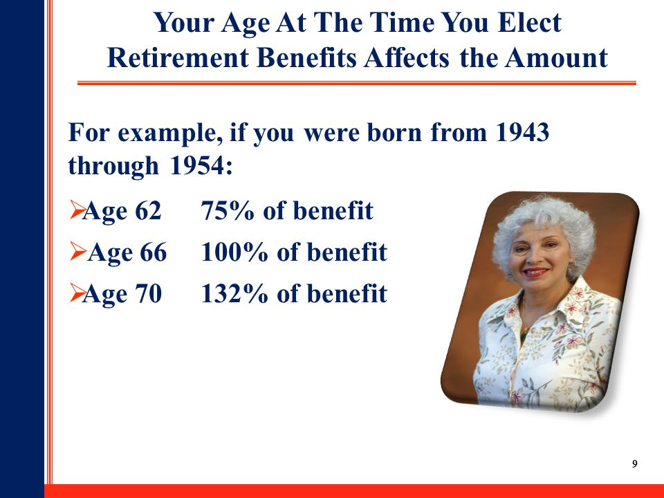 9 Your Age At The Time You Elect Retirement Benefits Affects the Amount  Age 6275% of benefit  Age 66100% of benefit  Age 70132% of benefit For example, if you were born from 1943 through 1954: