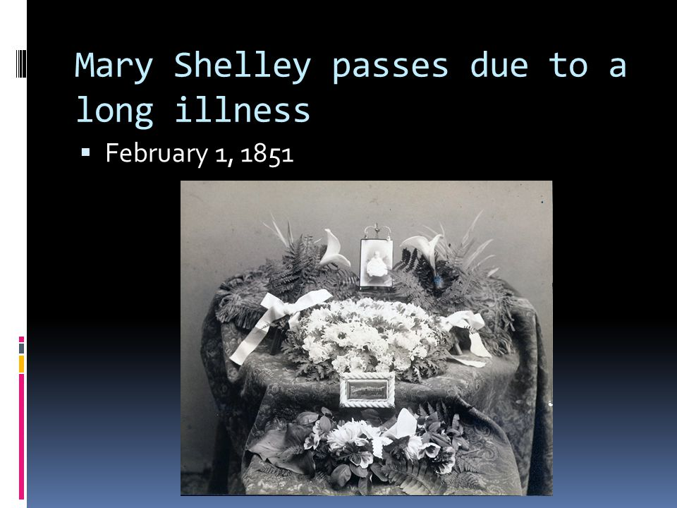 Mary Shelley passes due to a long illness  February 1, 1851