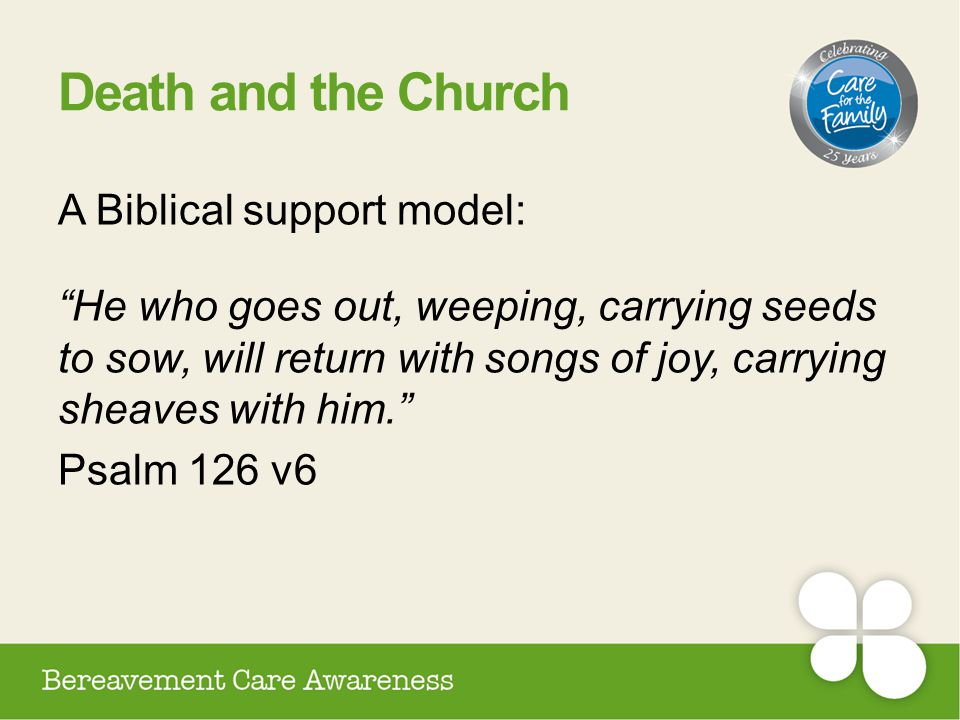 """Death and the Church A Biblical support model: """"He who goes out, weeping, carrying seeds to sow, will return with songs of joy, carrying sheaves with"""