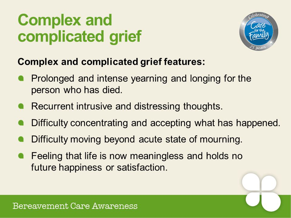 Complex and complicated grief Complex and complicated grief features: Prolonged and intense yearning and longing for the person who has died. Recurren