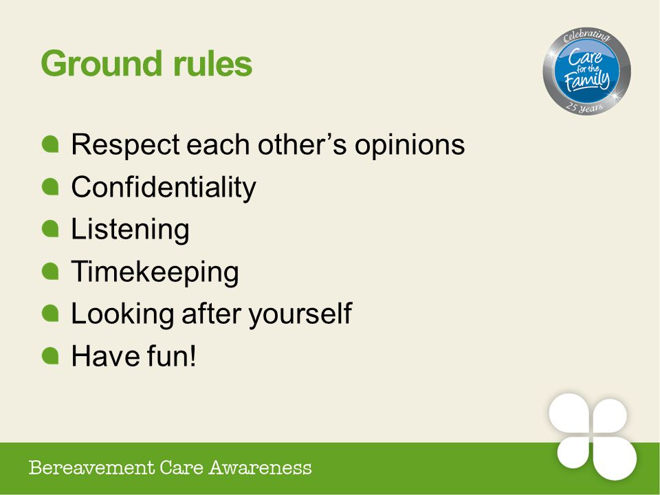 Ground rules Respect each other's opinions Confidentiality Listening Timekeeping Looking after yourself Have fun!