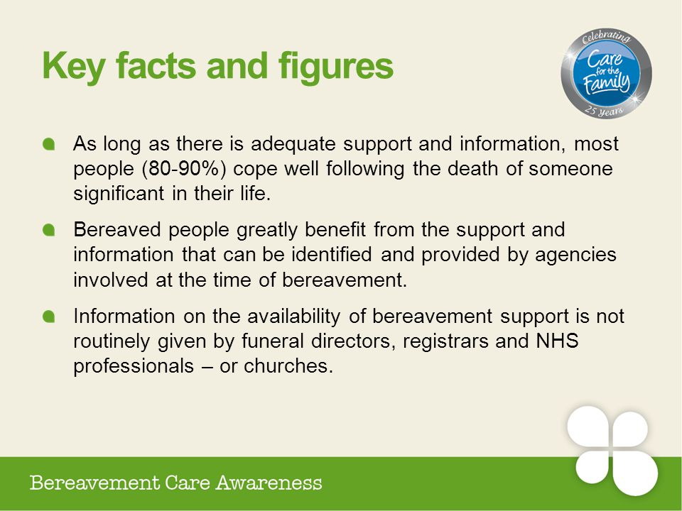 Key facts and figures As long as there is adequate support and information, most people (80-90%) cope well following the death of someone significant