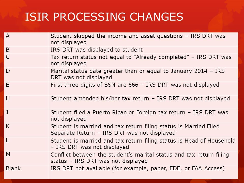 ISIR PROCESSING CHANGES AStudent skipped the income and asset questions – IRS DRT was not displayed BIRS DRT was displayed to student CTax return status not equal to Already completed – IRS DRT was not displayed DMarital status date greater than or equal to January 2014 – IRS DRT was not displayed EFirst three digits of SSN are 666 – IRS DRT was not displayed HStudent amended his/her tax return – IRS DRT was not displayed JStudent filed a Puerto Rican or Foreign tax return – IRS DRT was not displayed KStudent is married and tax return filing status is Married Filed Separate Return – IRS DRT was not displayed LStudent is married and tax return filing status is Head of Household – IRS DRT was not displayed MConflict between the student's marital status and tax return filing status – IRS DRT was not displayed BlankIRS DRT not available (for example, paper, EDE, or FAA Access)