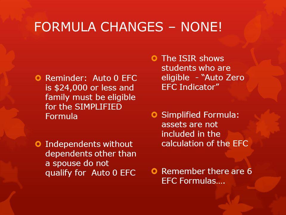 FORMULA CHANGES – NONE.