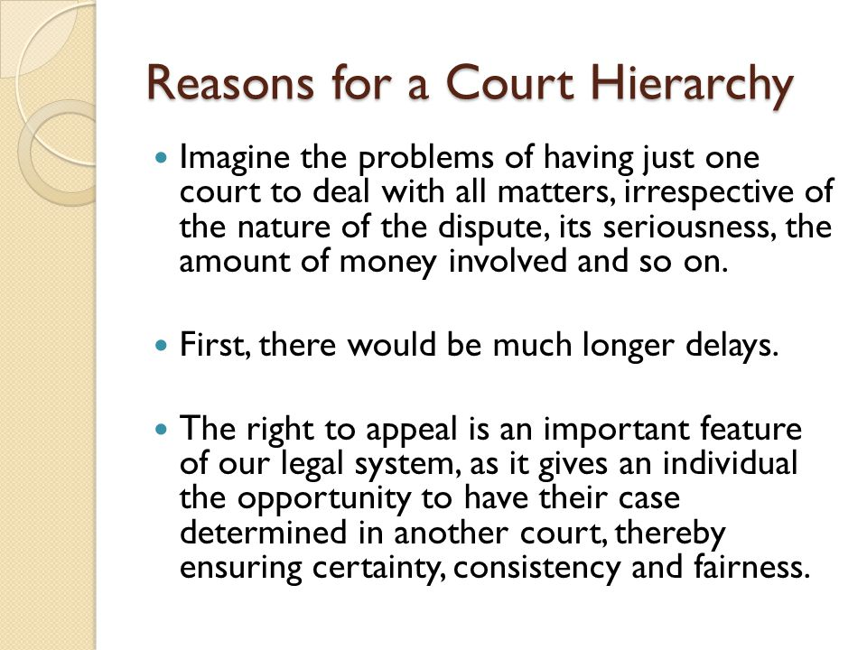 Appeals in the Magistrates Court The Magistrates' Court is the lowest court in the Victorian court hierarchy.