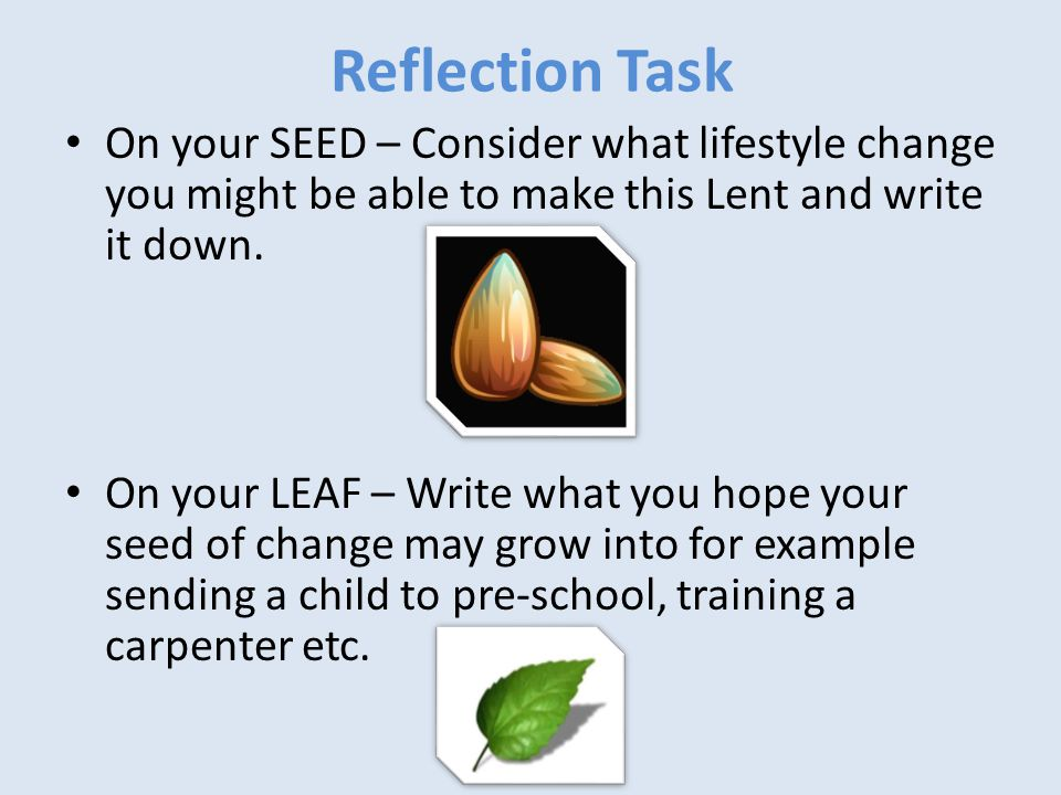 Reflection Task On your SEED – Consider what lifestyle change you might be able to make this Lent and write it down.