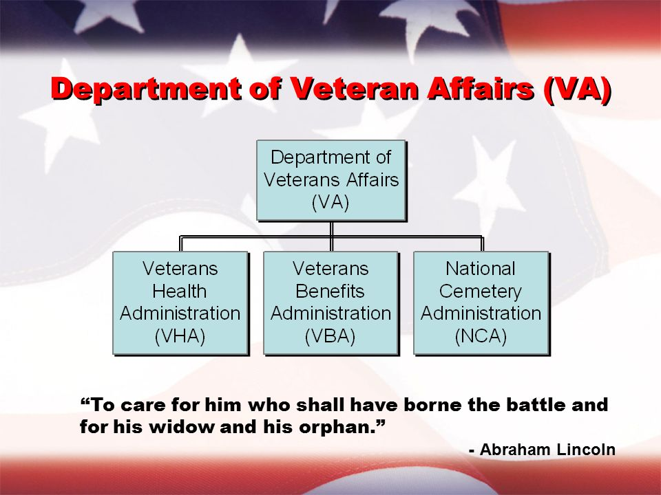 Department of Veteran Affairs (VA) To care for him who shall have borne the battle and for his widow and his orphan. - Abraham Lincoln