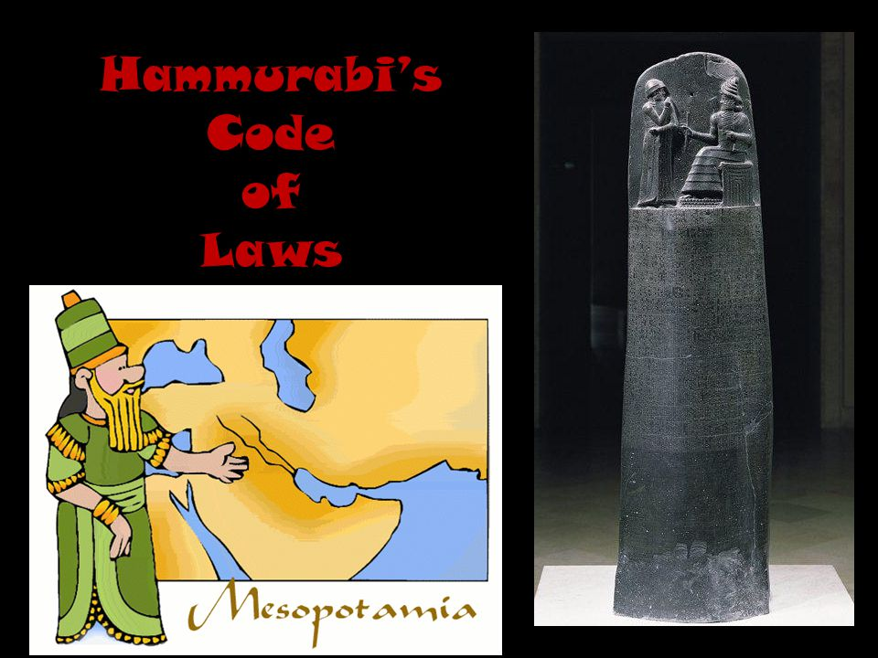Hammurabi's Code Hammurabi's Code #195: If a son strike his father, his hands shall be hewn [cut] off.